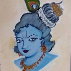 lord krishna , 9 x 11 inch, vidhya rathi,paintings,religious paintings,canvas,oil,9x11inch,GAL0208415455