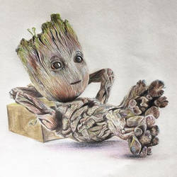 groot, 12 x 17 inch, lovepreet gill,drawings,paintings for kids room,paintings for school,fine art drawings,illustration drawings,modern drawings,photorealism drawings,kids drawings,paintings for kids room,paintings for school,thick paper,pencil color,12x17inch,GAL0233315467