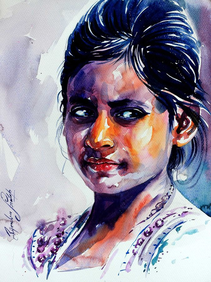 anshu, 12 x 16 inch, bijendra  pratap ,figurative paintings,paintings for living room,paintings for office,portraiture,brazilian paper,watercolor,12x16inch,GAL04531549