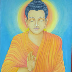 buddha, 14 x 11 inch, dilpreet honey,paintings,buddha paintings,thick paper,oil,14x11inch,religious,peace,meditation,meditating,gautam,goutam,buddha,lord,mudra,sun,peaceful,blessing,GAL0677615490