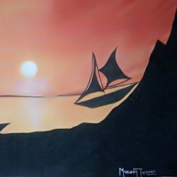 see, sunrise and boat view, 17 x 12 inch, mukesh tanwar,paintings,nature paintings,paintings for dining room,paintings for living room,paintings for bedroom,paintings for office,paintings for kids room,paintings for hotel,paintings for school,paintings for hospital,thick paper,watercolor,17x12inch,GAL0671415502Nature,environment,Beauty,scenery,greenery