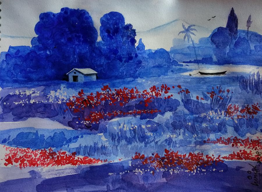 beauty of nature - red flowers, 11 x 8 inch, girish chandra vidyaratna,paintings,cityscape paintings,landscape paintings,paintings for dining room,paintings for living room,paintings for bedroom,paintings for office,paintings for kids room,paintings for hotel,paintings for kitchen,paintings for school,paintings for hospital,paper,watercolor,11x8inch,GAL03615504