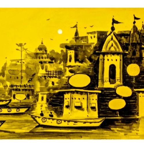 beauty of varanasi - chet singh ghat , 10 x 10 inch, girish chandra vidyaratna,paintings,cityscape paintings,landscape paintings,paintings for dining room,paintings for living room,paintings for bedroom,paintings for office,paintings for kids room,paintings for hotel,paintings for kitchen,paintings for school,paintings for hospital,paper,acrylic color,10x10inch,GAL03615506