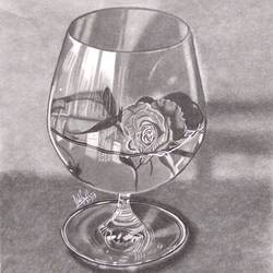 flower in a glass, 8 x 12 inch, ishika shrimal,drawings,paintings for bedroom,fine art drawings,paintings for bedroom,paper,pencil color,8x12inch,GAL0685015512