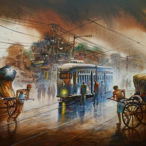 busy city kolkata, 30 x 24 inch, ananda das,cityscape paintings,paintings for office,canvas,acrylic color,30x24inch,GAL0102515513