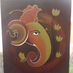lord ganesh, 14 x 18 inch, dhvanidevi  jadeja,paintings,ganesha paintings,paintings for living room,paintings for office,paintings for living room,paintings for office,canvas,oil,14x18inch,GAL0148315514,vinayak,ekadanta,ganpati,lambodar,peace,devotion,religious,lord ganesha,lordganpati,ganpati bappa morya,ganesh chaturthi,ganesh murti,elephant god,religious,lord ganesh,ganesha,om,hindu god,shiv parvati, putra,bhakti,blessings,aashirwad,pooja,puja,aarti,ekdant,vakratunda,lambodara,bhalchandra,gajanan,vinayak,prathamesh,vignesh,heramba,siddhivinayak,mahaganpati,omkar,mushak,mouse,ladoo,modak