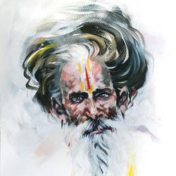 wrinkles of sprituality 3, 12 x 16 inch, bijendra  pratap ,figurative paintings,paintings for dining room,paintings for living room,portraiture,brustro watercolor paper,acrylic color,12x16inch,GAL04531552