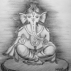 lord ganesh, 12 x 15 inch, hitesh mondal,drawings,portrait drawings,paintings for hospital,thick paper,pencil color,12x15inch,GAL0467115522