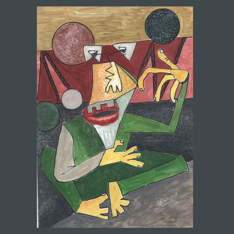 angry man, 12 x 8 inch, nishant verma,paintings,figurative paintings,thick paper,pastel color,12x8inch,GAL0177015523