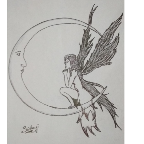 #moon fairy#, 8 x 12 inch, shivangi  sharma,drawings,abstract drawings,fine art drawings,modern drawings,paintings for dining room,paintings for living room,paintings for bedroom,paintings for hotel,drawing paper,pen color,ball point pen,graphite pencil,8x12inch,GAL0601915528