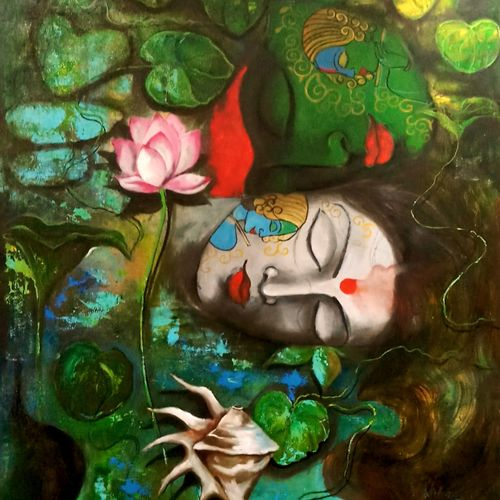 love of krishna 2, 30 x 42 inch, arjun das,paintings,religious paintings,canvas,acrylic color,30x42inch,GAL011215550