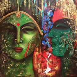 love of krishna 1, 36 x 36 inch, arjun das,paintings,religious paintings,canvas,acrylic color,36x36inch,GAL011215551