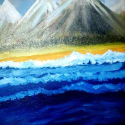 scenic mountains and sea, 12 x 11 inch, praveena shree egambaram,paintings,nature paintings,paintings for dining room,paintings for living room,paintings for bedroom,paintings for office,paintings for kids room,paintings for hotel,paintings for school,paintings for hospital,landscape paintings,canvas,oil,12x11inch,GAL0681415560Nature,environment,Beauty,scenery,greenery
