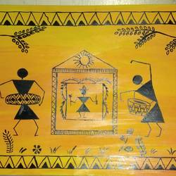 warli, 22 x 8 inch, manishi seth,folk art paintings,paintings for living room,warli paintings,ivory sheet,acrylic color,22x8inch,GAL0595915563
