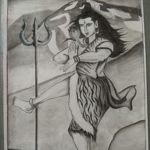shiv tandav, 19 x 14 inch, manishi seth,drawings,expressionist drawings,paintings for living room,paper,charcoal,19x14inch,GAL0595915565