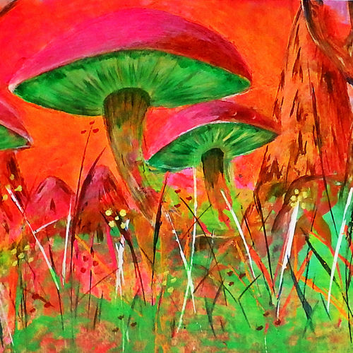 glow in the dark - mushroom valley, 12 x 16 inch, prax rao,abstract paintings,flower paintings,landscape paintings,abstract expressionist paintings,pop art paintings,paintings for dining room,paintings for living room,paintings for bedroom,paintings for bathroom,paintings for kitchen,paintings for dining room,paintings for living room,paintings for bedroom,paintings for bathroom,paintings for kitchen,thick paper,acrylic color,12x16inch,GAL0689515576