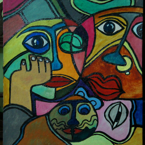 surreal man, woman and a cat, 12 x 16 inch, prax rao,paintings,abstract paintings,modern art paintings,surrealist paintings,animal paintings,love paintings,paintings for dining room,paintings for living room,paintings for bedroom,paintings for office,paintings for bathroom,paintings for kids room,paintings for hotel,paintings for kitchen,paintings for school,paintings for hospital,hardboard,acrylic color,12x16inch,GAL0689515581