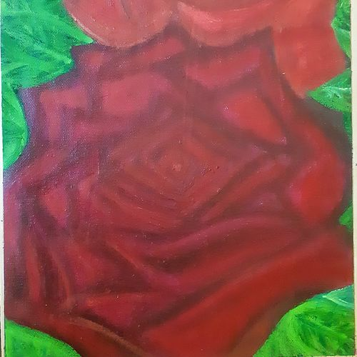 scarlet rose, 12 x 11 inch, praveena shree egambaram,paintings,abstract paintings,flower paintings,nature paintings,canvas,oil,12x11inch,GAL0681415594Nature,environment,Beauty,scenery,greenery