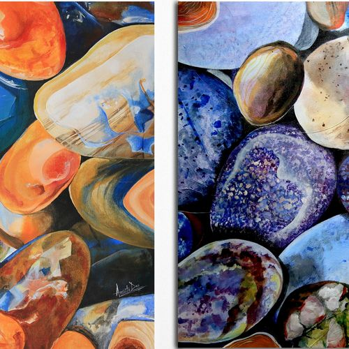 mix wet stones, 26 x 26 inch, amrita das,abstract paintings,paintings for living room,multi piece paintings,paintings for office,canvas,acrylic color,26x26inch,GAL050156