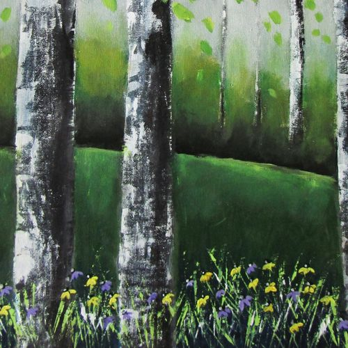 a rainy day in spring, 21 x 27 inch, solina kumar,paintings,landscape paintings,contemporary paintings,paintings for dining room,paintings for living room,paintings for office,paintings for hotel,canvas,acrylic color,21x27inch,GAL0465115602