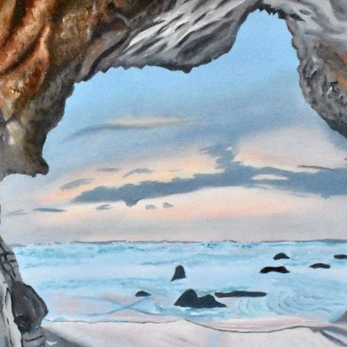 beach cave, 15 x 23 inch, suchitra tata,paintings,landscape paintings,nature paintings,paintings for dining room,paintings for living room,paintings for office,paintings for hotel,paintings for hospital,canvas,oil,15x23inch,GAL0288615608Nature,environment,Beauty,scenery,greenery
