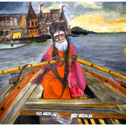 water colour  sadhu on boat in varanasi lake, 17 x 12 inch, rijoy  emmanuel,figurative paintings,paintings for living room,paintings for bedroom,religious paintings,paintings for dining room,paintings for office,paper,watercolor,17x12inch,GAL0643115610