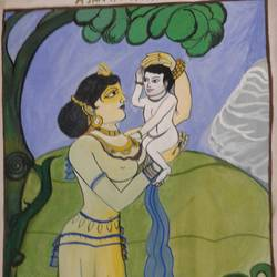 mother with a child, 8 x 12 inch, julia bhattacharya,paintings,buddha paintings,paintings for bedroom,paper,poster color,8x12inch,GAL0691615617