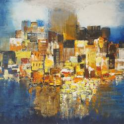abstract city , 48 x 30 inch, swarna  rao,paintings,abstract paintings,cityscape paintings,canvas,mixed media,48x30inch,GAL0158715625