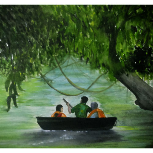 water colour  of kerala kuttavanchi and tourists, 17 x 12 inch, rijoy  emmanuel,paintings,figurative paintings,landscape paintings,nature paintings,paintings for living room,paintings for office,paintings for living room,paintings for office,paper,watercolor,17x12inch,sunrise,river,nature,green,scenery,river,GAL0643115627Nature,environment,Beauty,scenery,greenery
