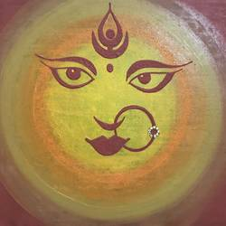""""""" the goddess """", 18 x 14 inch, dhvanidevi  jadeja,paintings,religious paintings,paintings for dining room,paintings for living room,paintings for office,canvas,oil,18x14inch,GAL0148315633"""