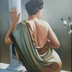 rear beauty, 30 x 36 inch, dls  art gallery,paintings,figurative paintings,portrait paintings,art deco paintings,expressionist paintings,realistic paintings,paintings for living room,paintings for bedroom,paintings for bathroom,paintings for hotel,canvas,acrylic color,oil,30x36inch,GAL0692615638