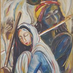 meera , 24 x 36 inch, swarna  rao,paintings,figurative paintings,radha krishna paintings,canvas,oil,24x36inch,GAL0158715643,meera,love,pece,lordkrishna,,lordmeera,peace,flute,music,radha,krishna,devotion,couple,