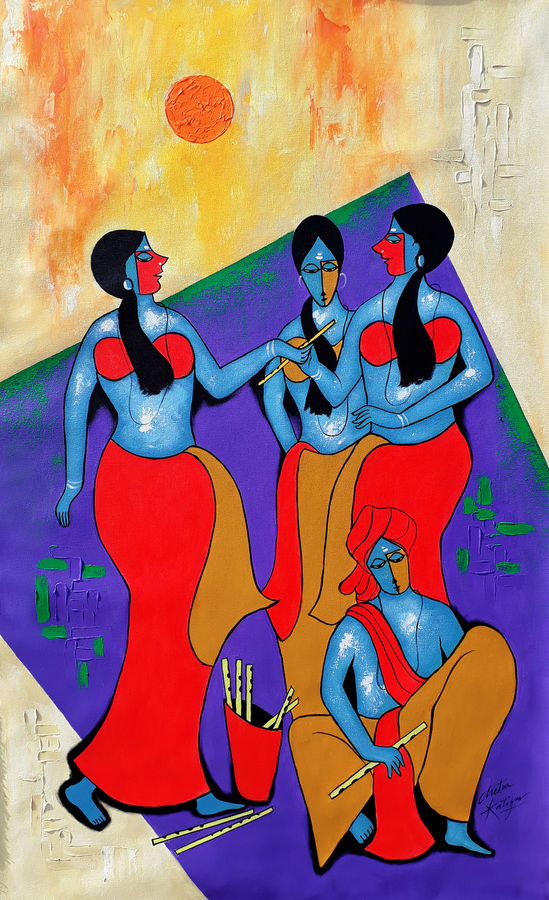 flute seller, 30 x 47 inch, chetan katigar,paintings,figurative paintings,modern art paintings,multi piece paintings,religious paintings,abstract expressionist paintings,art deco paintings,expressionist paintings,impressionist paintings,portraiture,contemporary paintings,paintings for living room,paintings for bedroom,paintings for office,paintings for hospital,canvas,acrylic color,30x47inch,GAL026615644