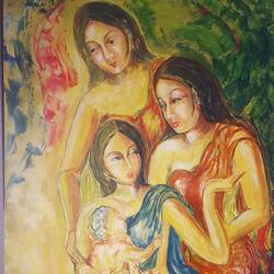sahelia, 36 x 48 inch, swarna  rao,paintings,figurative paintings,canvas,oil,36x48inch,GAL0158715647