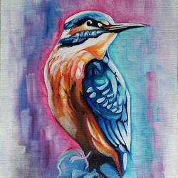 kingfisher oil, 8 x 10 inch, kavya  bhatt,paintings,wildlife paintings,nature paintings,animal paintings,paintings for office,paintings for bathroom,paintings for kids room,paintings for hotel,paintings for office,paintings for bathroom,paintings for kids room,paintings for hotel,canvas,oil,8x10inch,GAL0693415648Nature,environment,Beauty,scenery,greenery