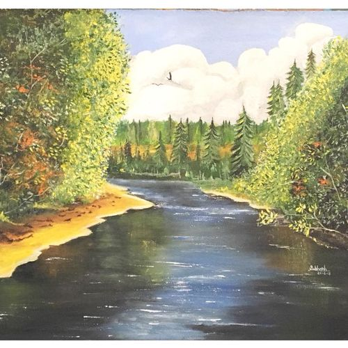 river, 21 x 16 inch, subhash gijare,paintings,landscape paintings,nature paintings,paintings for dining room,paintings for living room,paintings for bedroom,paintings for office,paintings for kids room,paintings for hotel,paintings for kitchen,paintings for school,paintings for hospital,canvas,acrylic color,21x16inch,sunrise,river,nature,green,scenery,GAL013815650Nature,environment,Beauty,scenery,greenery