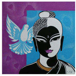 buddha , 12 x 12 inch, ram prathap,paintings,buddha paintings,modern art paintings,paintings for living room,paintings for bedroom,paintings for office,paintings for hotel,canvas,acrylic color,12x12inch,religious,peace,meditation,meditating,gautam,goutam,buddha,lord,bird,black and white,GAL0596915672