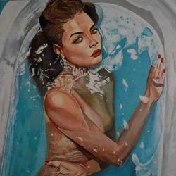 lady in bath tub, 30 x 36 inch, pavan prabhu,paintings,portrait paintings,paintings for living room,canvas,mixed media,30x36inch,GAL0625415676