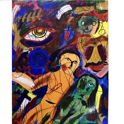 thoughts, 12 x 24 inch, sharad khandelwal,paintings,abstract paintings,modern art paintings,realism paintings,paintings for dining room,paintings for living room,paintings for bedroom,paintings for office,paintings for hotel,paintings for school,hardboard,acrylic color,mixed media,12x24inch,GAL0492315680