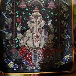ganesh kirmani with stones work, 15 x 20 inch, lokesh singh,paintings,ganesha paintings,paintings for living room,paintings for living room,fabriano sheet,acrylic color,fabric,mixed media,stone color,sand,15x20inch,GAL0696015684,vinayak,ekadanta,ganpati,lambodar,peace,devotion,religious,lord ganesha,lordganpati,ganpati bappa morya,ganesh chaturthi,ganesh murti,elephant god,religious,lord ganesh,ganesha,om,hindu god,shiv parvati, putra,bhakti,blessings,aashirwad,pooja,puja,aarti,ekdant,vakratunda,lambodara,bhalchandra,gajanan,vinayak,prathamesh,vignesh,heramba,siddhivinayak,mahaganpati,omkar,mushak,mouse,ladoo,modak