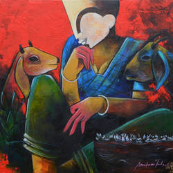 conversation , 24 x 24 inch, anupam  pal,paintings,abstract paintings,wildlife paintings,figurative paintings,paintings for dining room,paintings for living room,paintings for bedroom,paintings for office,paintings for bathroom,paintings for kids room,paintings for hotel,paintings for kitchen,paintings for school,paintings for hospital,canvas,acrylic color,24x24inch,GAL08215691