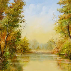 autumn river , 24 x 16 inch, karola kiss,paintings,landscape paintings,nature paintings,realism paintings,paintings for dining room,paintings for living room,paintings for dining room,paintings for living room,realistic paintings,hardboard,oil,24x16inch,sunrise,river,nature,green,scenery,GAL0695715692Nature,environment,Beauty,scenery,greenery,tree,river