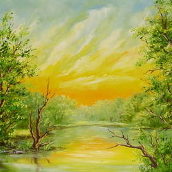 summer river, 24 x 16 inch, karola kiss,paintings,landscape paintings,nature paintings,realism paintings,realistic paintings,paintings for dining room,paintings for living room,hardboard,oil,24x16inch,sunrise,river,nature,green,scenery,GAL0695715693Nature,environment,Beauty,scenery,greenery,tree,river,