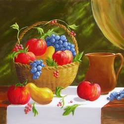 fruits, 20 x 16 inch, karola kiss,paintings,still life paintings,nature paintings,realism paintings,realistic paintings,paintings for dining room,paintings for living room,hardboard,oil,20x16inch,GAL0695715697Nature,environment,Beauty,scenery,greenery