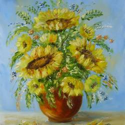 sunflowers, 16 x 20 inch, karola kiss,paintings,flower paintings,still life paintings,nature paintings,realism paintings,realistic paintings,hardboard,oil,16x20inch,GAL0695715698Nature,environment,Beauty,scenery,greenery