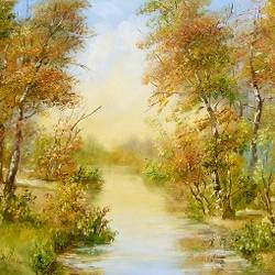 autumn afternoon, 20 x 16 inch, karola kiss,paintings,landscape paintings,nature paintings,realism paintings,realistic paintings,hardboard,oil,20x16inch,GAL0695715700Nature,environment,Beauty,scenery,greenery