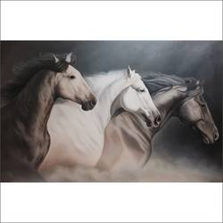 raging horses, 48 x 30 inch, augustine devotta,paintings,horse paintings,paintings for living room,paintings for office,paintings for hotel,canvas,oil,48x30inch,GAL0695415723