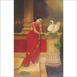 hansa damayanthi, 24 x 36 inch, augustine devotta,paintings,love paintings,paintings for living room,paintings for bedroom,paintings for hotel,canvas,oil,24x36inch,GAL0695415724