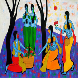 flowers seller, 73 x 47 inch, chetan katigar,figurative paintings,modern art paintings,love paintings,paintings for living room,paintings for bedroom,paintings for office,paintings for hotel,paintings for hospital,paintings for bathroom,paintings for school,canvas,acrylic color,73x47inch,GAL026615730