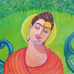 thinking buddha, 36 x 24 inch, pallavi parihar,paintings,buddha paintings,paintings for living room,paintings for bedroom,paintings for living room,paintings for bedroom,canvas,oil,36x24inch,religious,peace,meditation,meditating,gautam,goutam,buddha,lord,orange,peacock,sun,GAL0677915739